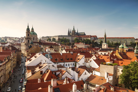 View of Prague rooftops, St. Vitus Cathedral and St. Nicholas Cathedral. Czech republic Reklamní fotografie