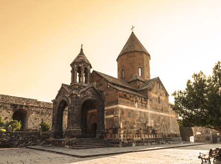 Armenia, Ararat valley, Khor Virap monastery, Church of St. Astvatsatsin (virgin Mary) at dawn