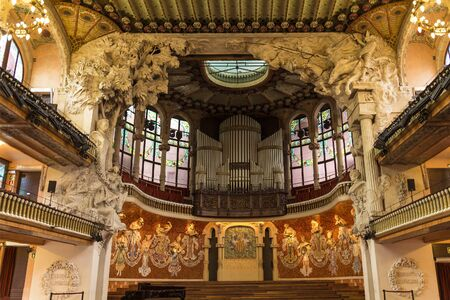 Interior of Palace of Catalan music in Barcelona, Catalonia, Spain