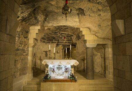 The interior of the grotto of the Annunciation Basilica in Nazareth, the Latin inscription reads: Here the Word became flesh, Israel