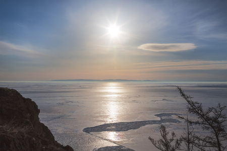 View of the frozen lake Baikal from Olkhon island. Irkutsk region. Eastern Siberia. Russia Stok Fotoğraf