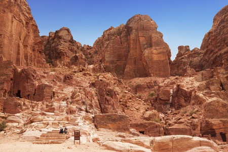 Cave dwellings in rocks the city of Petra, Jordan