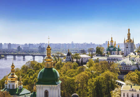 View of the Kiev-Pechersk Lavra on a sunny summer day, Kiev, Ukraine Imagens