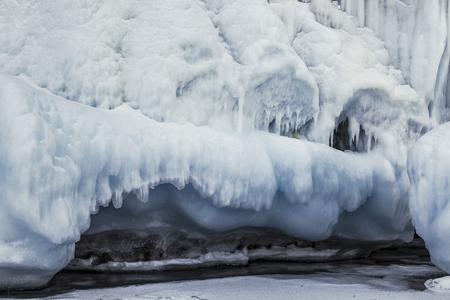 Fabulous ice cave on lake Baikal. Eastern Siberia, Russia 스톡 콘텐츠