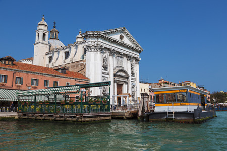 View of the church of Gesuati or Santa Maria del Rosario from the Grand Canal, the cafe and the vaporetto stop Zattere. Venice. Italy 報道画像