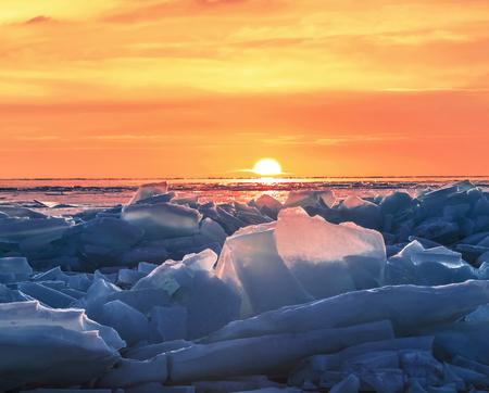Sunrise on lake Baikal in winter, Eastern Siberia, Russia