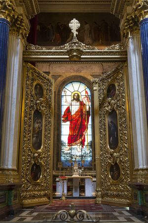 St. Isaac's Cathedral.The main altar, the Stained-glass window of the resurrection of Christ