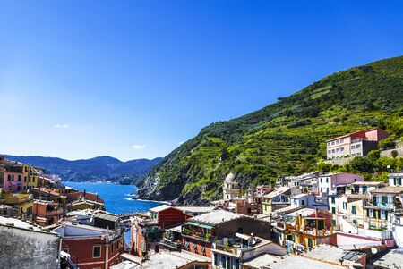 View of the colorful small town of Vernazza, Cinque Terre, Liguria region, Italy. 写真素材
