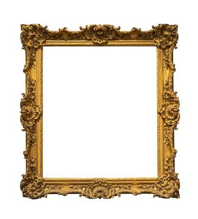 Houten uitstekend frame dat op witte achtergrond wordt geïsoleerd Stockfoto