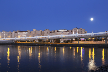 Night view of the viaduct leading to the Western high-speed diameter. Saint Petersburg, Russia
