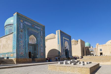 View of the monument of medieval architecture Shahi Zinda-ensemble of mausoleums Karakhanid and Timurid nobility. Samarkand, Uzbekistan Editorial