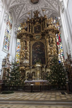 Christmas interior of the Church of the ascension of Mary. Landsberg Am Lech, Germany, Bavaria