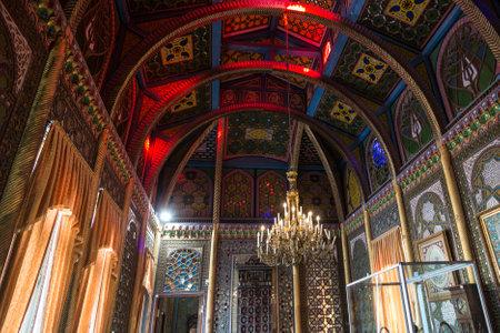 Summer country residence of the Emir of Bukhara-the Palace of Sitorai Mokhi-Khosa, the interior of the Banquet hall. Bukhara, Uzbekistan