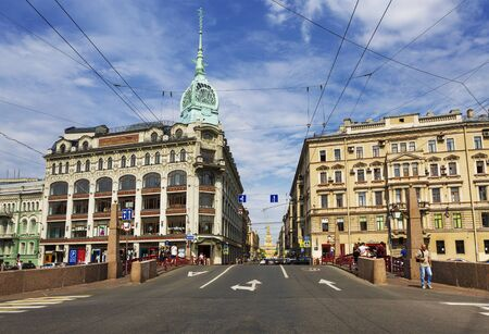 Views of St. Petersburg with the building of the trading house Esders and Schieifals from the Red bridge through Moyka river, Saint-Petersburg, Russia
