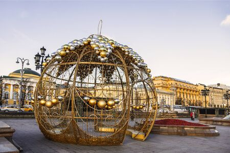 Decoration of Manezhnaya square on New years, Moscow, Russia