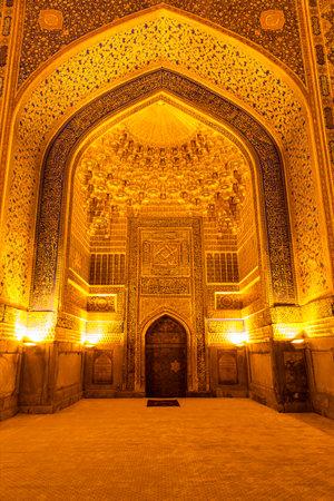 The interior of the mosque in the Tilla-Kari Madrasah on the Registan square, Samarkand, Uzbekistan