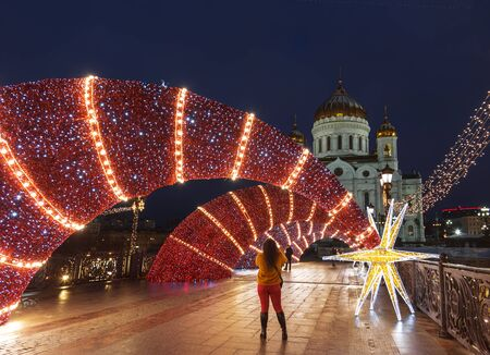 Scenery of the festival Journey to Christmas at the Patriarchal bridge in Moscow, Russia Editöryel