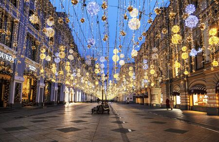 Nikolskaya street in the Christmas and new year holidays in the early morning. Moscow, Russia