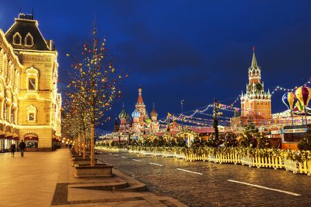 Red square with Christmas fair on new year and Christmas holidays in the early morning, Moscow, Russia