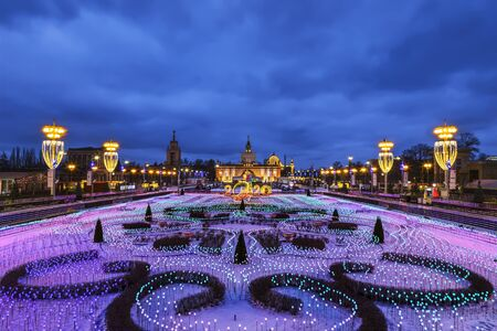 Lighting design of the rink at VDNH on Christmas and new year holidays in the evening, Moscow, Russia Editöryel