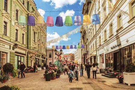 Festival Moscow spring , decorative design of Stoleshnikov lane, Moscow, Russia