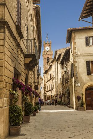 Street in the medieval town of Pienza in Tuscany. Italy,