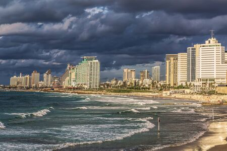 View of Tel Aviv and the Mediterranean coast  before the storm from the old Jaffa. Israel
