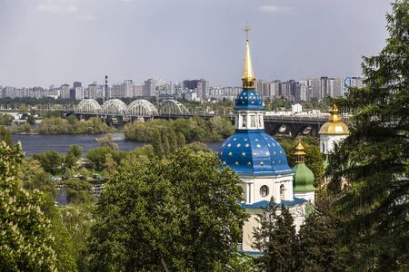 View of Kiev from the Botanical garden with the Vydubitsky monastery in the foreground. Ukraine