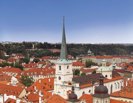 Top view of Prague with the Church of St. Thomas in the center. Czech Republic