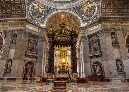 The interior of St. Peter's Basilica in the Vatican. Baroque canopy over the altar, above the canopy rises a Department dedicated to St. Peter, created by Bernini