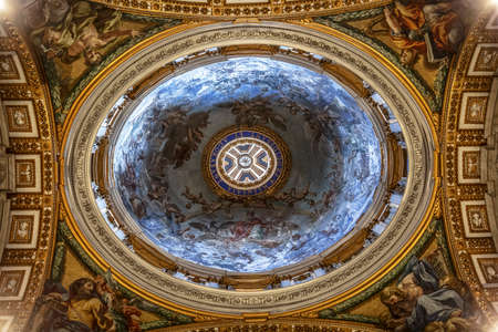 The interior of the Cathedral of St. Peter in the Vatican. The dome