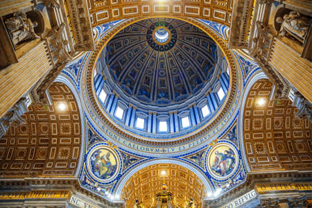 The interior of the Cathedral of St. Peter in the Vatican. The central dome