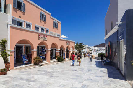 View of the street in Oia in Santorini, Greece