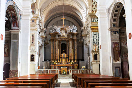The interior of the Church Trinita dei Monti atop the Spanish steps in Rome. It is located on the very top of the Pinchio hill. Italy