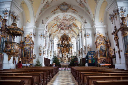 The interior of the Parish Church of the assumption of Mary in Schongau, Germany Bavaria