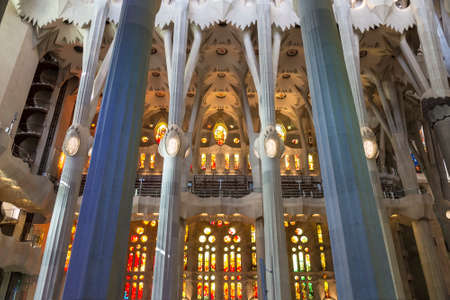 Interior of Holy Family Cathedral in Barcelona, Catalonia, Spain Editorial