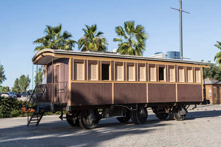 Old wooden railway car at the Old railway station. Tel Aviv, Israel Editorial