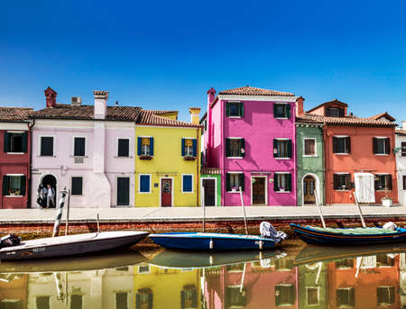 Colorful buildings in Burano island in Venice, Italy