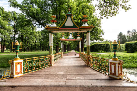 Colorful bridge in the Chinese style in the Alexander Park of Tsarskoye Selo, Russia