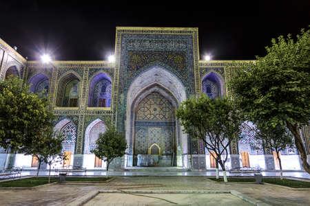 The courtyard of the Ulugbek madrasah at night. Samarkand, Uzbekistan