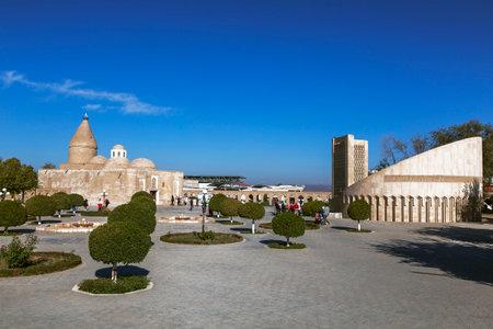 UZBEKISTAN, BUKHARA - OCTOBER 19, 2019: Chashma-Ayub mausoleum (source of job) in the historical center of Bukhara, founded in the 12th century. Uzbekistan