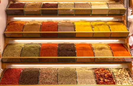 A showcase of various spices at the Grand Bazaar in Istanbul. Turkey