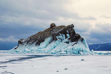 Yelenka rock on lake Baikal in winter at sunset, Eastern Siberia, Russia