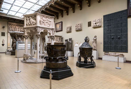 Interior of the hall of European art of the Middle Ages, casts and copies. Pushkin Museum of Fine Arts in Moscow, Russia
