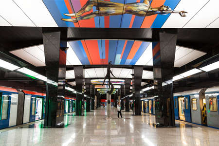 Interior of the CSKA station of the Moscow Metro on the big ring line. Moscow, Russia Editorial