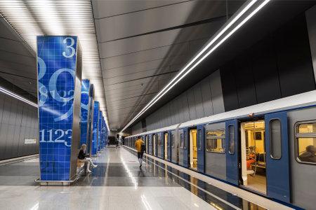 Interior of the Lomonosovsky Prospekt station of the Moscow Metro on the Solntsevskaya Line. Moscow, Russia