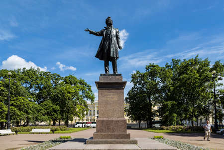 Monument to Alexander Pushkin on the Square of Arts in St. Petersburg. The author is the sculptor MK Anikushin. 1957. Russia