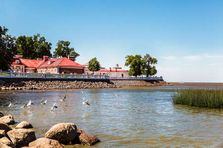 View on Monplaisir Palace from the Gulf of Finland, museum-reserve Peterhof, Russia Editorial