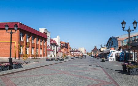 Malo-Tobolskaya street in the city of Barnaul. Altai territory, Russia Editorial