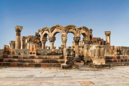 Medieval Zvartnots temple 7th century ad. of armenian apostolic church. Etchmiadzin, Armenia